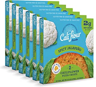 product image for Cali'flour Foods Pizza Crust (Spicy Jalapeno, 6 Boxes, 12 Crusts) - Fresh Cauliflower Base | Low Carb, High Protein, Gluten and Grain Free | Keto Friendly