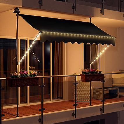 Swing & Harmonie – Toldo con manivela, toldo con iluminación y módulo Solar, toldo con Brazo de caída, protección Solar, terraza, balcón: Amazon.es: Jardín