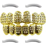 Top Class Jewels 24K Gold Plated Iced Out Grills with CZ Diamonds + 2 Extra Molding Bars, Storage Case + Microfiber Cloth