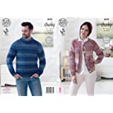 fe82a03684c6 King Cole 4632 Knitting Pattern Easy Knit Mens Sweater Womens Cardigan in  King Cole Cotswold Chunky