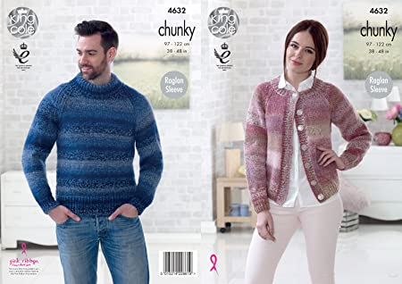 King Cole 4632 Knitting Pattern Easy Knit Mens Sweater Womens Cardigan In King Cole Cotswold Chunky