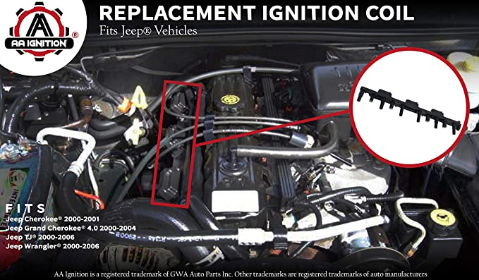 amazon com ignition coil pack fits jeep grand cherokee 4 0l  amazon com ignition coil pack fits jeep grand cherokee 4 0l, cherokee, wrangler, tj replaces 56041476ab, 56041476aa ignition coil pack 4 0 jeep grand