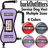 """barkOufitters Service Dog Vest Harness - Available in 4 Colors and 5 Sizes (Lavender, 35"""" - 45"""" Girth)"""