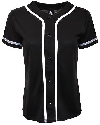 7787d31adb1 Amazon.com: YoungLA Women Baseball Jersey Plain Button Down Shirt Tee 420:  Clothing