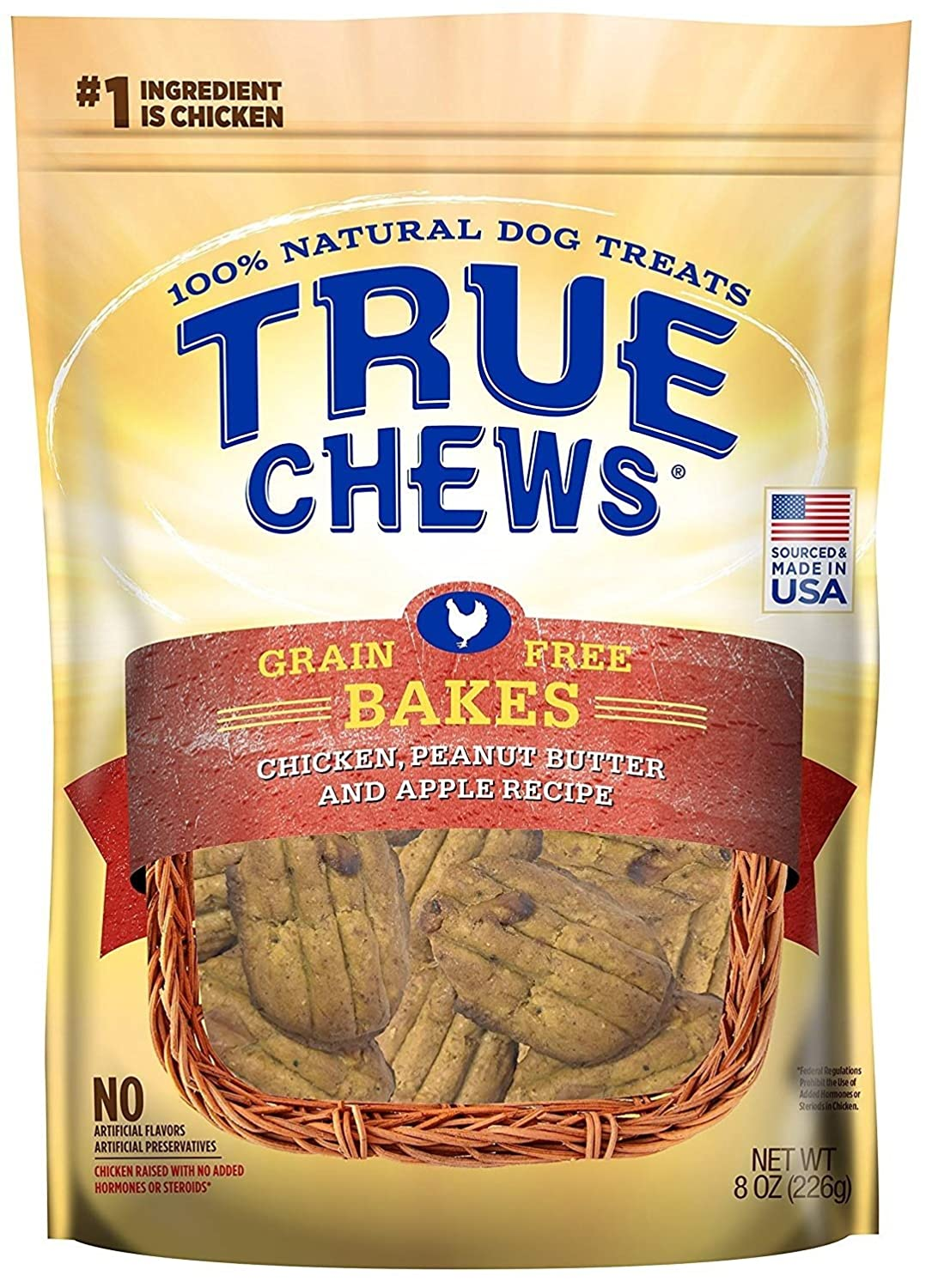 True Chews Dog Treats Premium GF Bakes Chicken Peanut Butter Apple Recipe 8 oz Made in USA