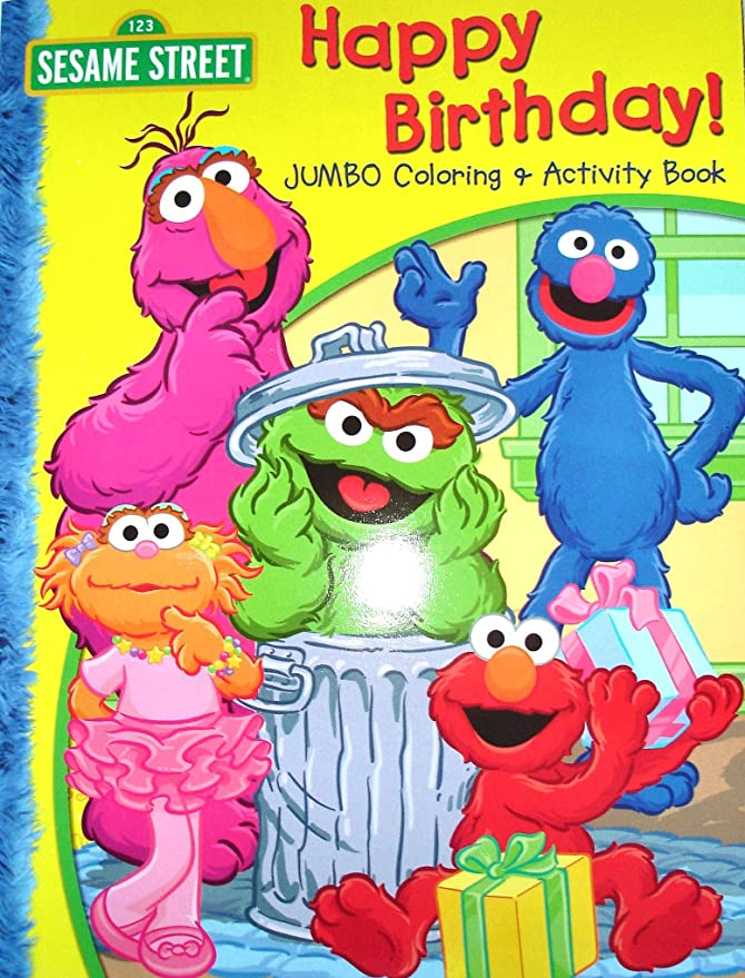Amazon Com Sesame Street Happy Birthday Jumbo Coloring Book Sesame Street And Friends Activity Book Office Products