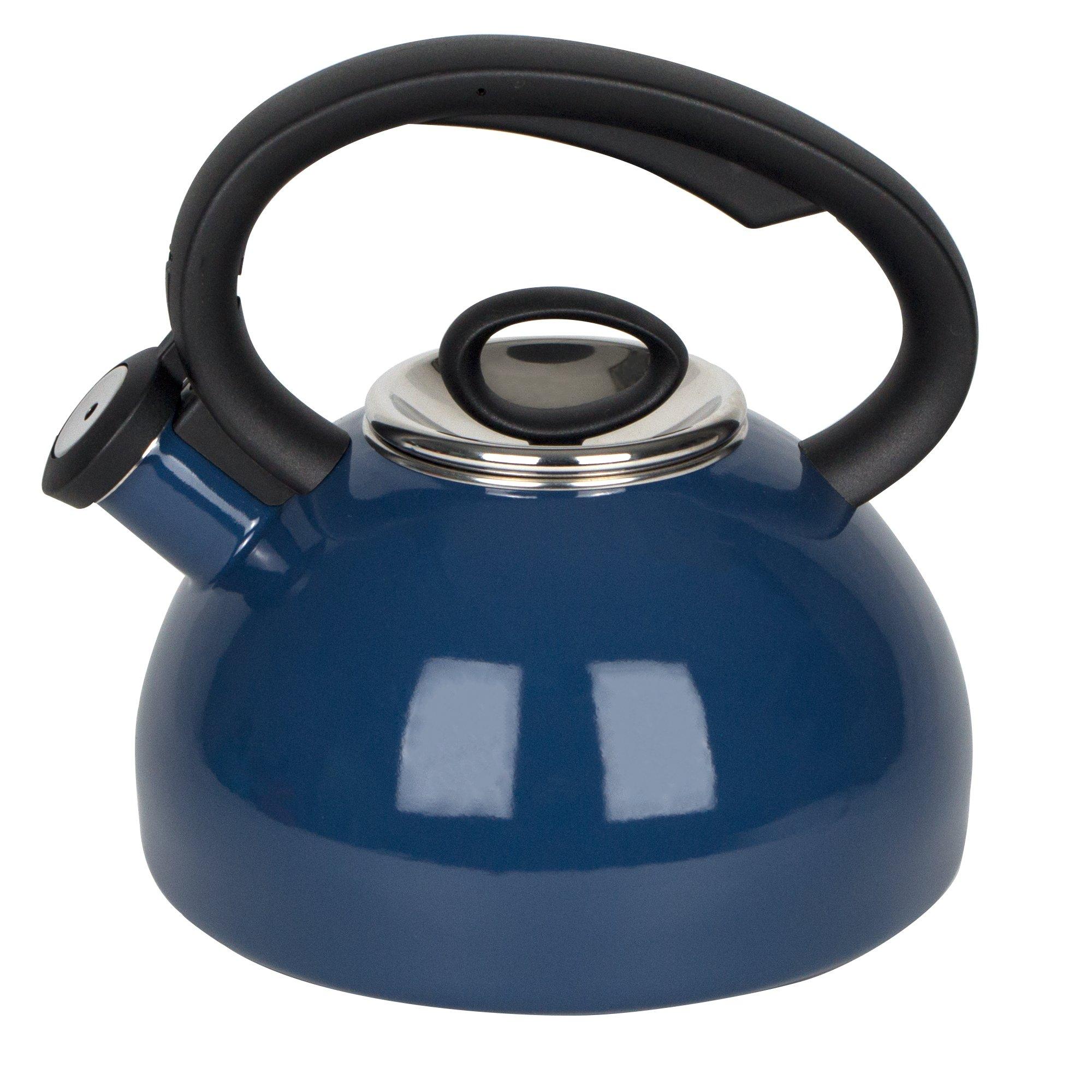 Porcelain Enameled Tea Kettles 2-Quart - Soft Whistling Hot Water Kettle - Cobalt Blue Teapot by AIDEA
