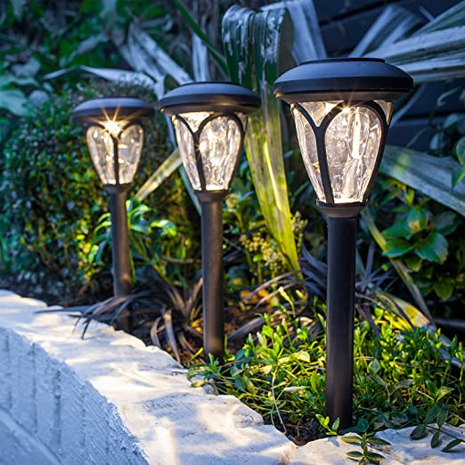 Lights4fun – Lote de 9 faroles faroles solares LED de Color Blanco cálido con estaca para jardín: Amazon.es: Jardín