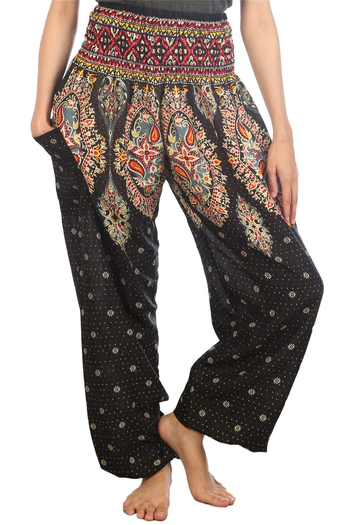 Lofbaz Women's Floral Smocked Waist Harem Pants Boho Clothing Black 3XL