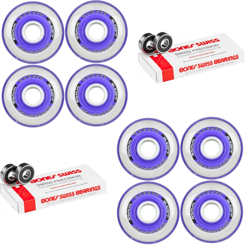 Labeda Millennium Gripper Purple Hockey Inline Wheels 80mm X-SOFT 8 Pack Swiss
