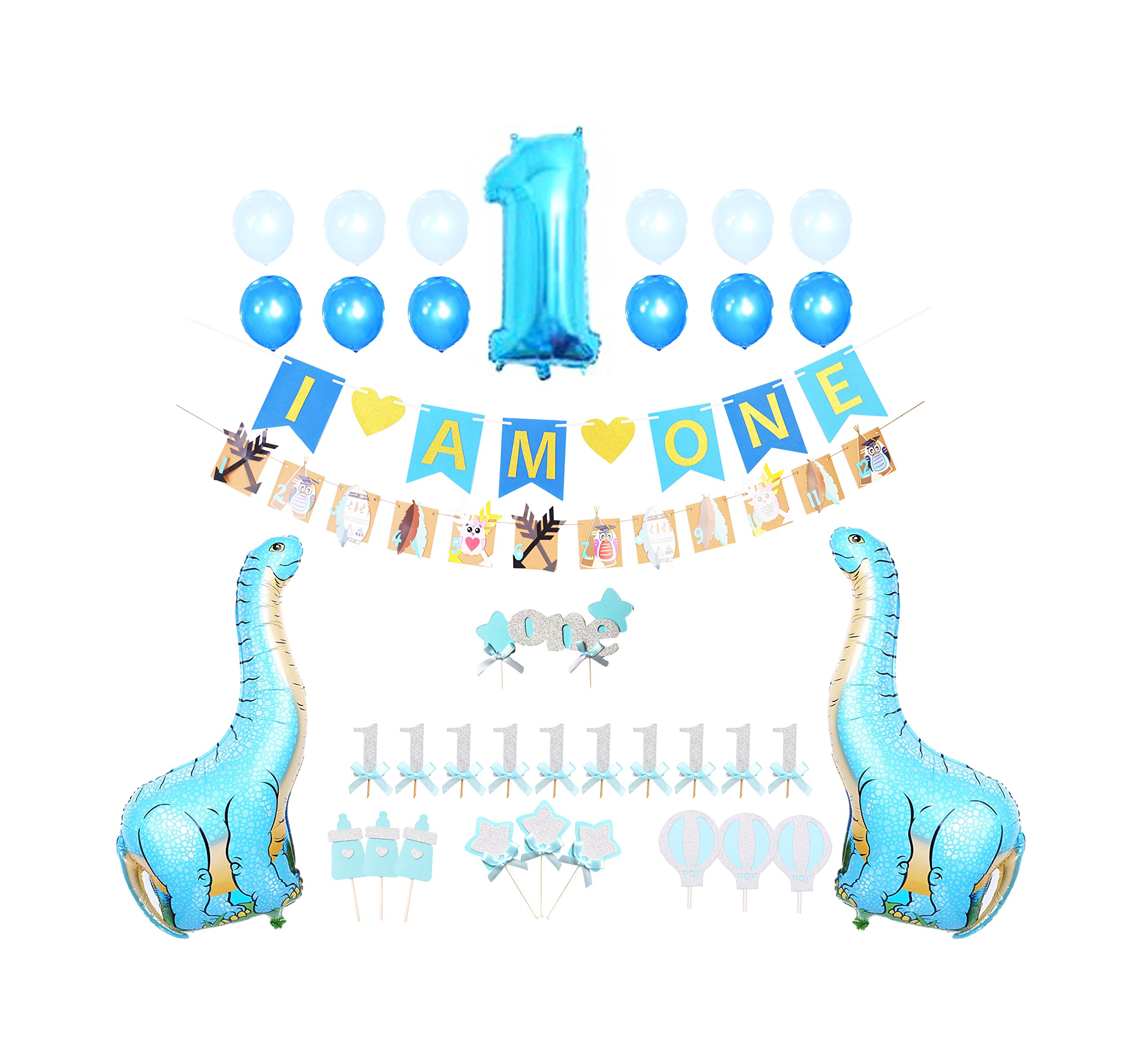 FIRST BIRTHDAY DECORATION SET FOR BOY- 1st Baby Boy Birthday Party, I AM ONE banner,Photo Booth, Dinosaur Mylar Foil Balloons,Cake Topper,Cupcake Topper,Milk Bottle,Star Topper,Hot Balloon Topper