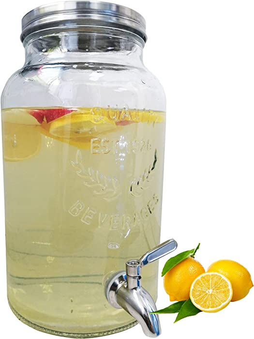lomejii 1.5 Gallon Glass Mason Jar Beverage Dispenser with Stainless Steel Spigot And Lid,Drink Dispenser for Water,Sun Tea, Kombucha,Thickened Glass,No Rust No Corrode No-Leak,Cold Drink