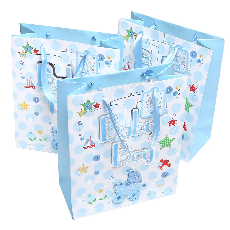 Amazon.com : MyGift Cute Light Blue Boy Baby Shower Gift Bags ...