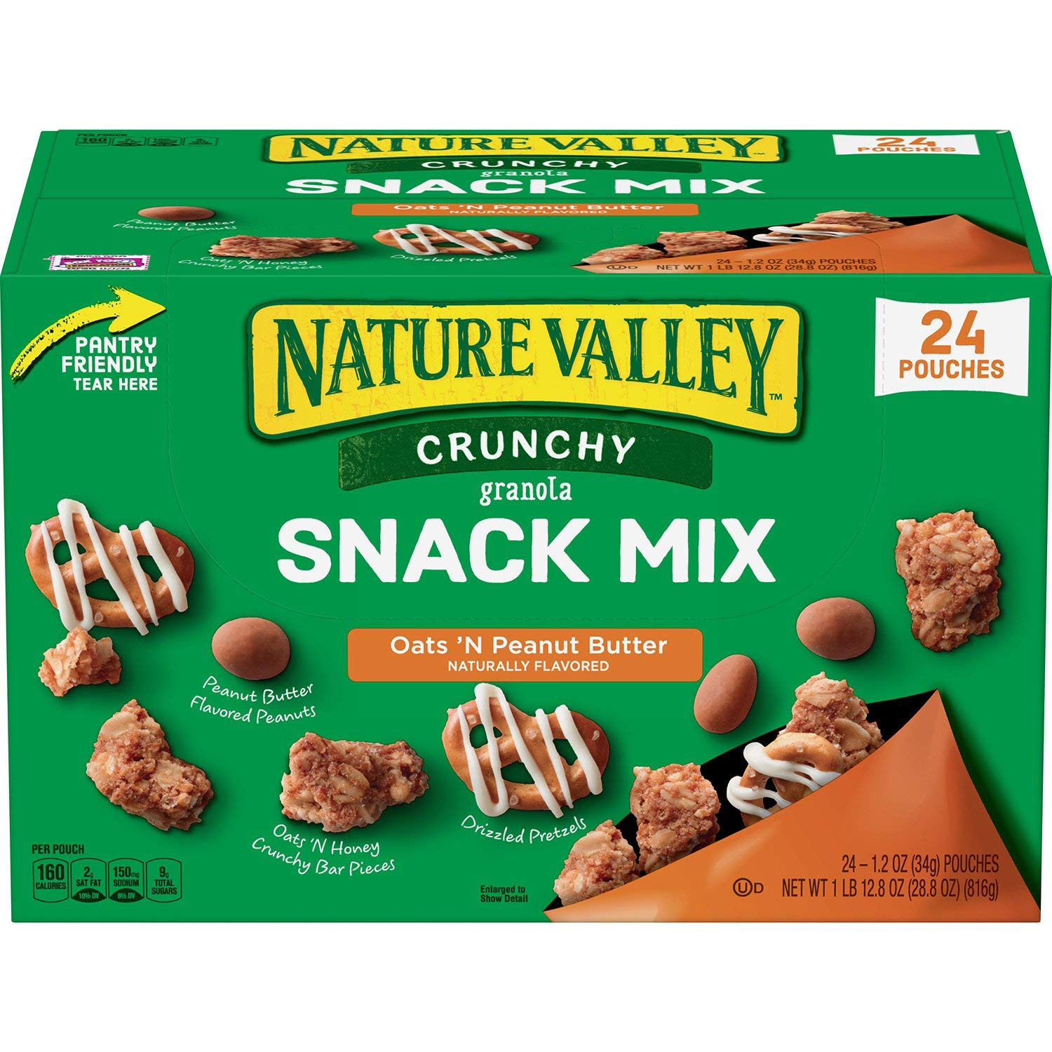 Nature Valley Nature Valley Crunch Granola Snack Mix Oats 'N Peanut Butter 24 X 1.2 OunceNet wt 28.8 Ounce , 28.8 Ounce