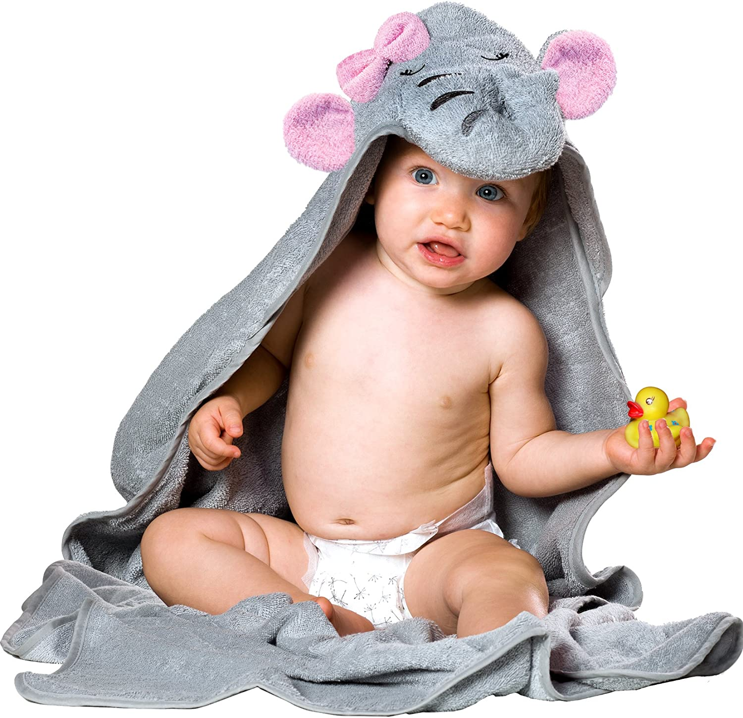 Toddlers I Baby Towel Perfect Baby Shower Gift for Girl I Baby Towels with Hood Newborn Hooded Bath Towels for Babies Hooded Baby Towel I Elephant