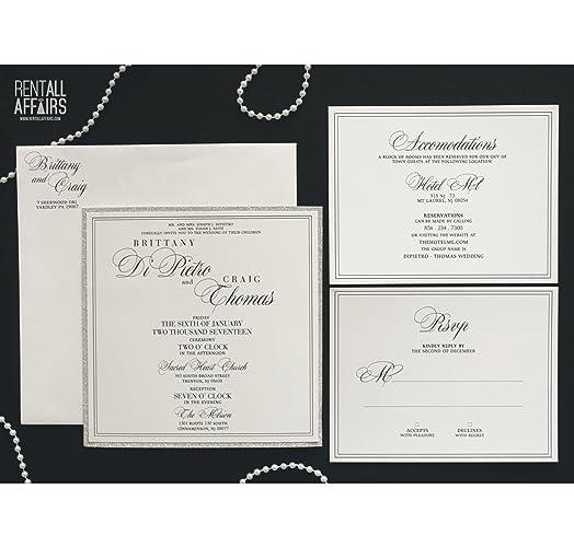 Amazon Com Elegant Square Glitter Wedding Invitation With