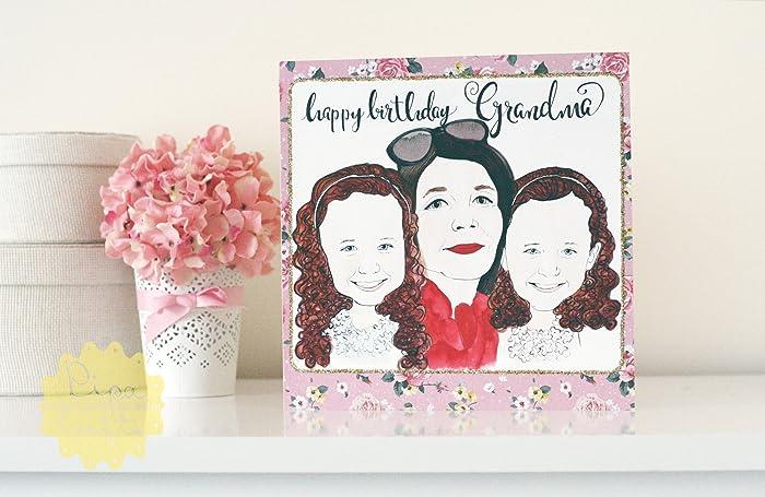 Happy Birthday Personalised Portrait Bespoke Greeting Cards