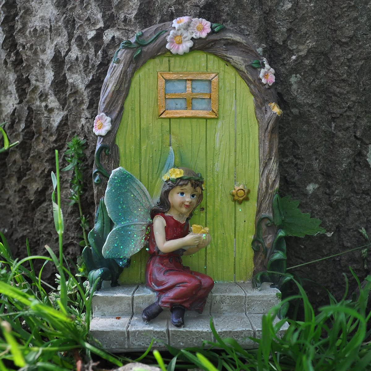 Medio vestito rosso Pixie H15 cm Prezents.com Fairy Garden UK Fairy Girl Butterfly /& Door Tree Garden Home Decor Mini statuetta regalo eccentrico