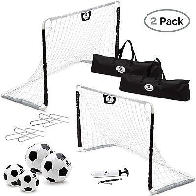 Morvat Soccer Goal Set for Backyard, Outdoor Toys Soccer Net, Soccer Goals for Backyard, Soccer Accessories, Pop Up Soccer Goals, Set of 2, Includes 2 Goal Nets, Soccer Balls and More, Black and White: Toys & Games