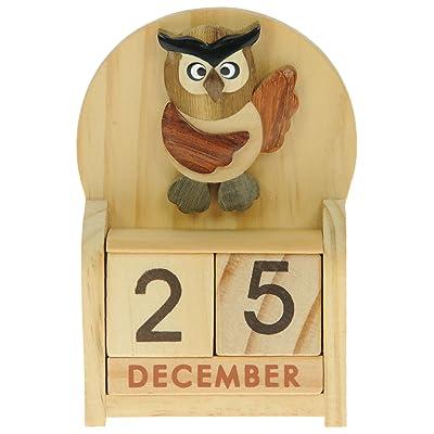 Chouette : Calendrier Perpétuel en Bois : traditionnel fait main cadeau d'anniversaire et de Noël Idées cadeau de Noël : Taille : 10,5 X 7 X 3,5 Cm : achetez un insolite et Quirky Alternative à