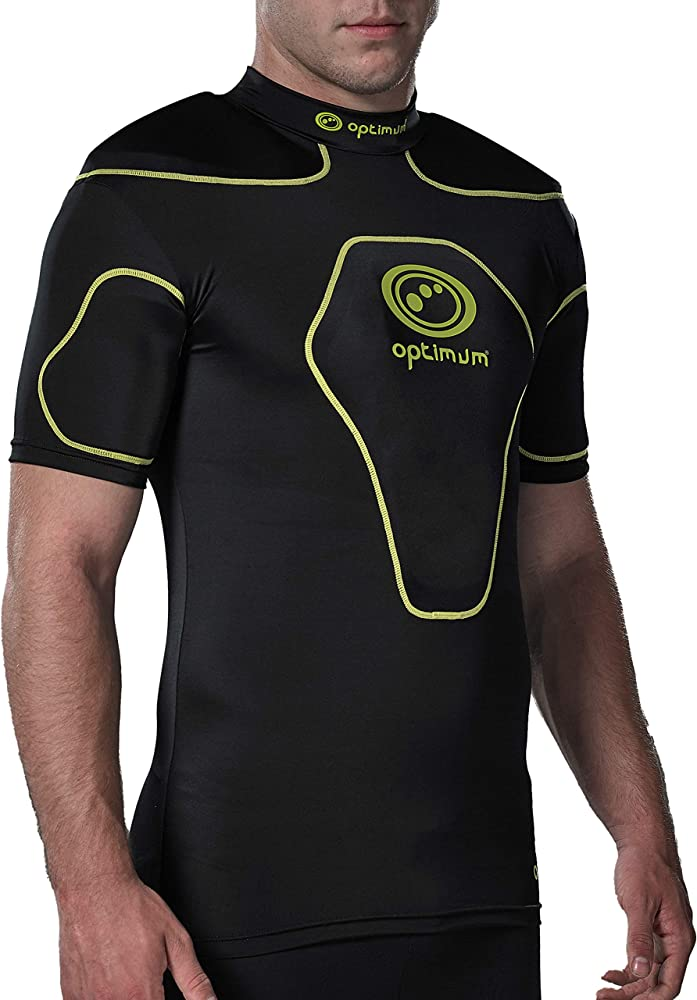 Optimum Origin - Camiseta deportiva con acolchado en hombros negro / amarillo fluorescente, Large: Amazon.es: Deportes y aire libre