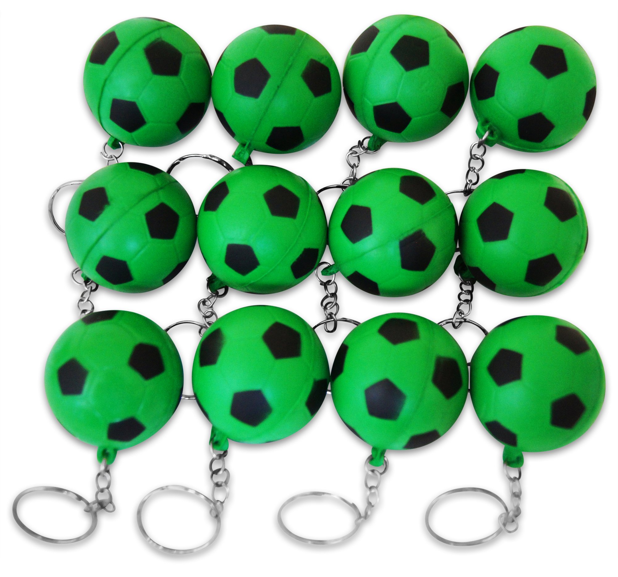 Novel Merk 12 Pack Green Soccer Ball Keychains for Kids Party Favors & School Carnival Prizes