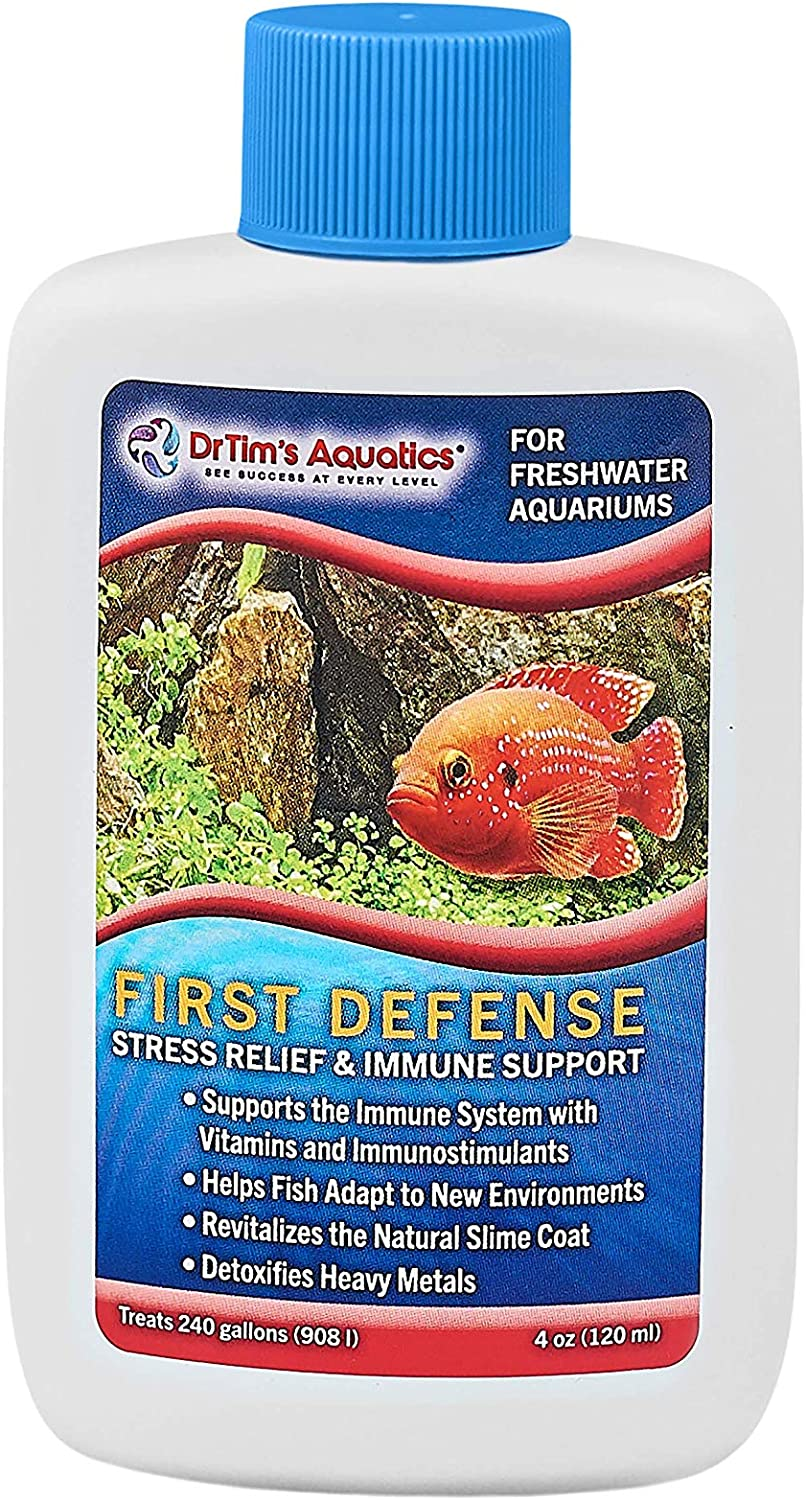 DrTim's Aquatics Freshwater First Defense Fish Stress Relief and Immune Support – For Fish Tanks, Aquariums – Revitalizes Natural Slime Coat – Detoxifies Heavy Metals, Repairs Wounds – 240 Gallons, 4 oz