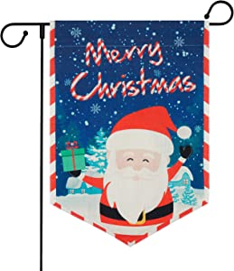 Merry Christmas Garden Flag, Santa Claus Garden Flag with Anti-Wind Clip, Decorative House Flags for Outside, Yard, Christmas, Holiday, Winter Garden Flags Burlap Double Sided, 12.5 x 18 inches
