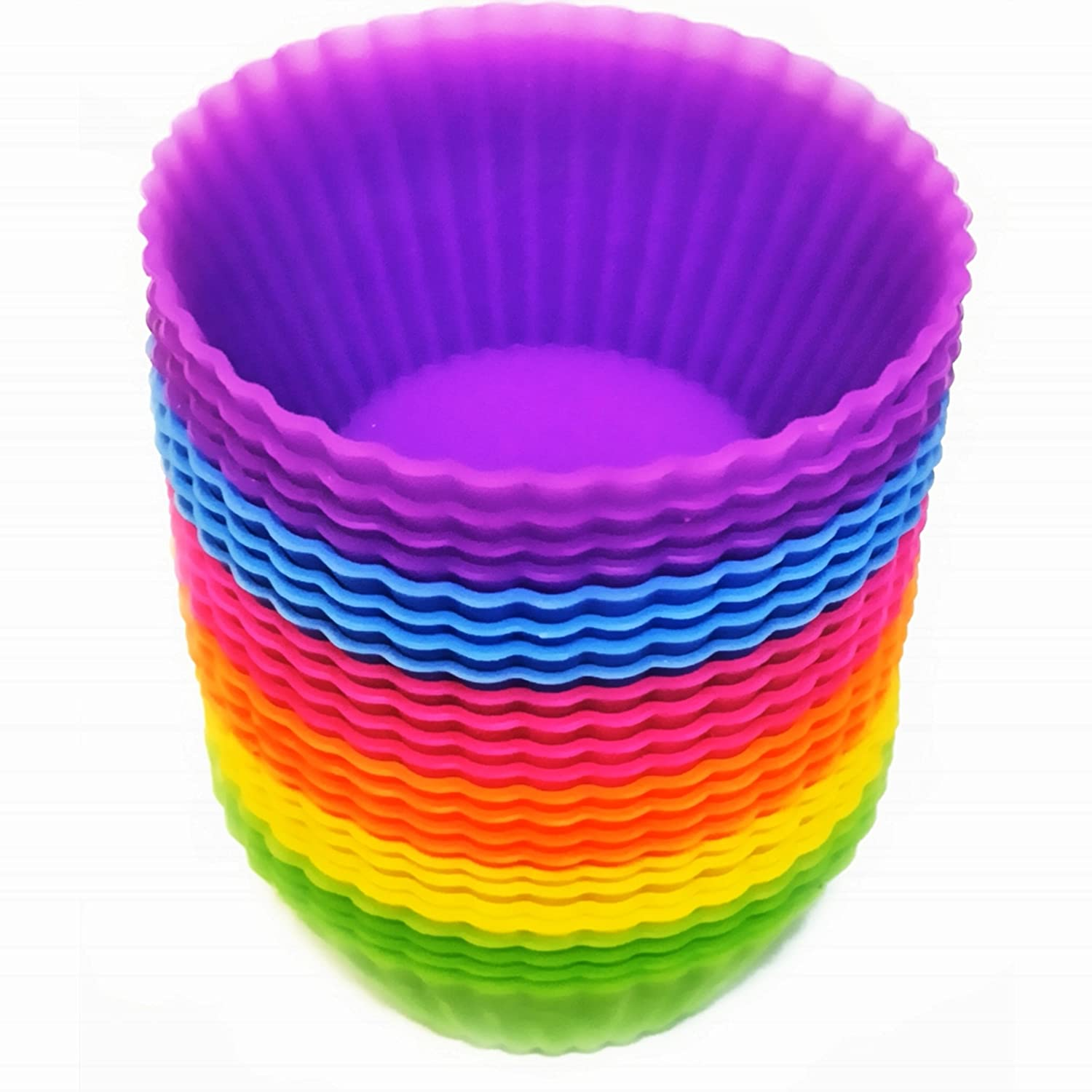 24-Pack Reusable Silicone Baking Cups, Cupcake Liners, Muffin Cups Cake Molds Sets- Non-Stick,Food Grade ,with 6 Vibrant Colors Round Puffware