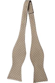 Cravate Auto Cravate Arc - Beige, Bleu, Rayures Brunes Et Rouges Sur Cran Sergé