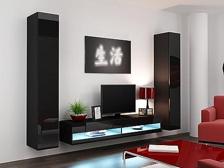Vigo IV 3 piezas Juego de muebles de salón, mueble para televisor, mueble para televisor, Tall gabinetes/unidad de almacenamiento, color blanco con roble/negro: Amazon.es: Hogar