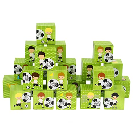 Papierdrachen Diy Adventskalender Zum Befullen Kisten Set Motiv Grun Mit Fussball Spielern 24 Boxen Weihnachten 2019 24 Bunte Schachteln Aus