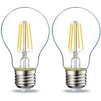 AmazonBasics Ampoule LED E27 A60 avec culot à vis, 4W (équivalent ampoule incandescente 40W), transparent avec filament - Lot de 2