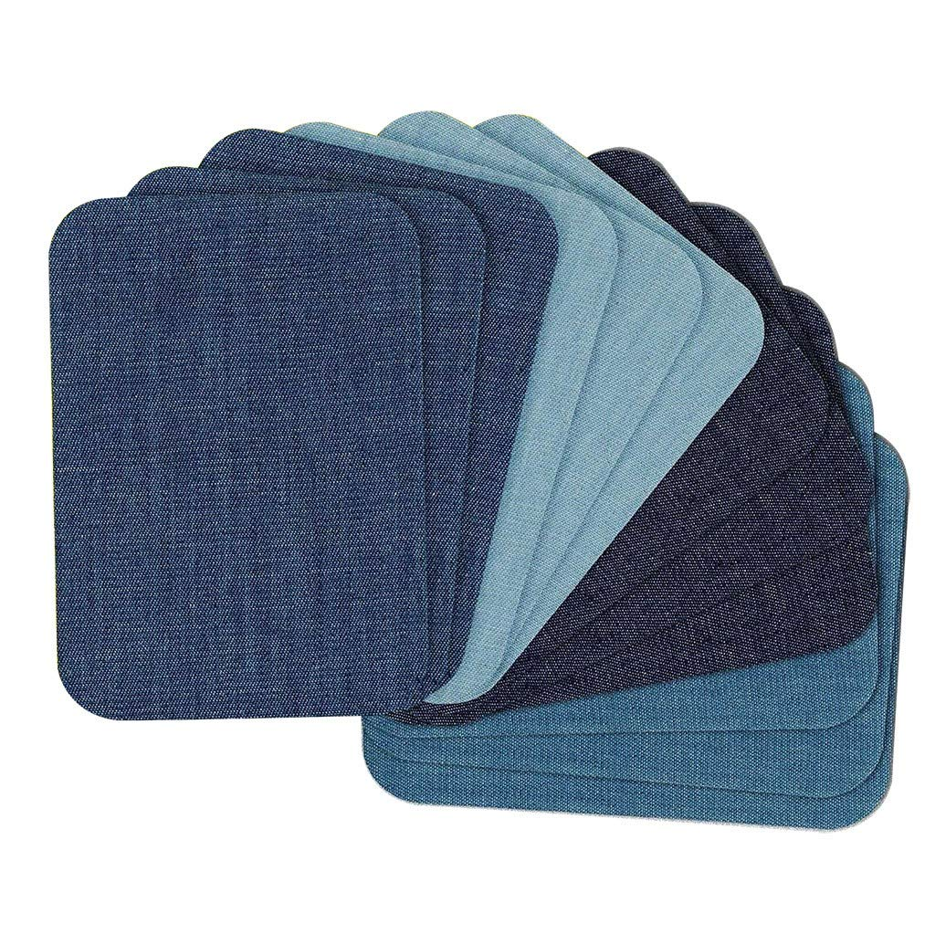Nesee Premium Quality Denim Iron-on or Sewing Jean Patches No-Sew Shades of Blue 12 Pieces Assorted Cotton Jeans Repair Kit