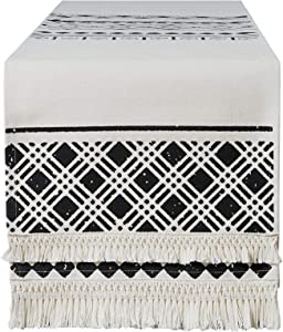 SK SUPKER Table Runner with Moroccan Tassels, Vintage Bohemian Geometric Black and White Canvas Table Runner for Rustic Farmhouse Wedding Home Dining Table Decor, 14 X72inch