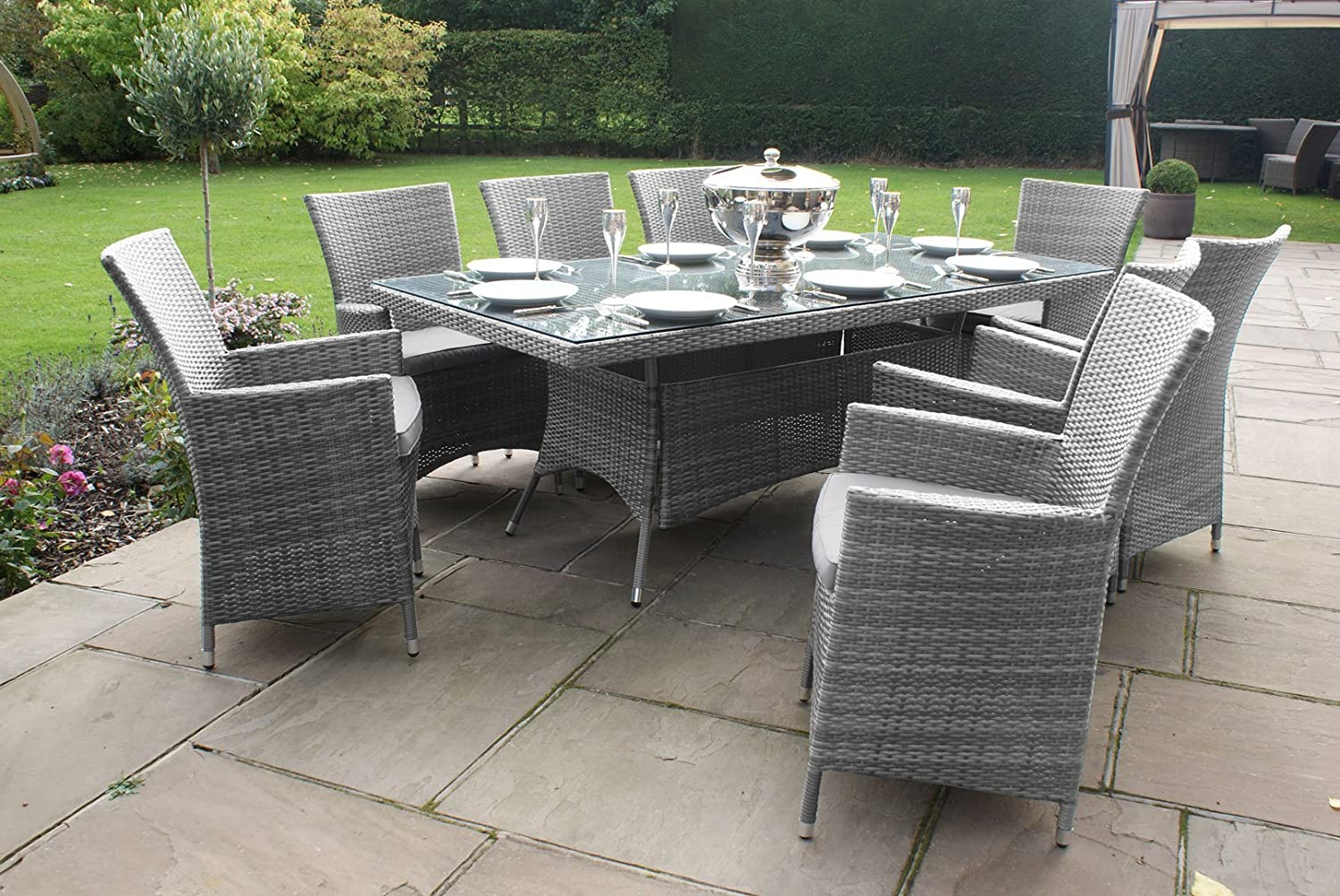 grey rattan dining table. maze rattan la 8 seater rectangular garden furniture dining set - grey inc free parasol: amazon.co.uk: kitchen \u0026 home table