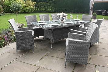 8 Seater Outdoor Dining Set Rectangular Patio Table Seats 8 Patio