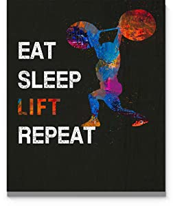 Eat Sleep Lift Repeat Wall Art, 11x14 inch Unframed Print, Great Gift Idea for Weight Lifting Enthusiasts, Weight Lifters, Coach. Ideal Gymn Decor