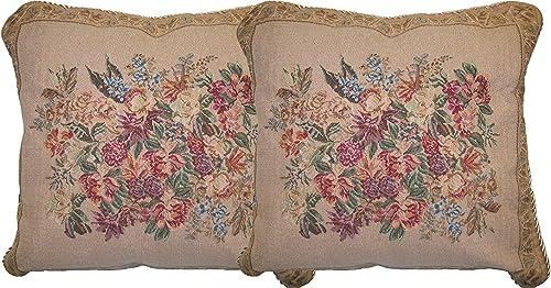DaDa Bedding DP-3100 Wildflower Wonderland Woven Decorative Pillows, 18 by 18-Inch, Set of 2