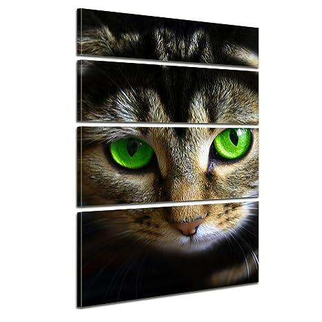 """Bilderdepot24 Cuadros en Lienzo""""Gato con los ojos verdes"""" 120x180 cm 4tlg - listo"""