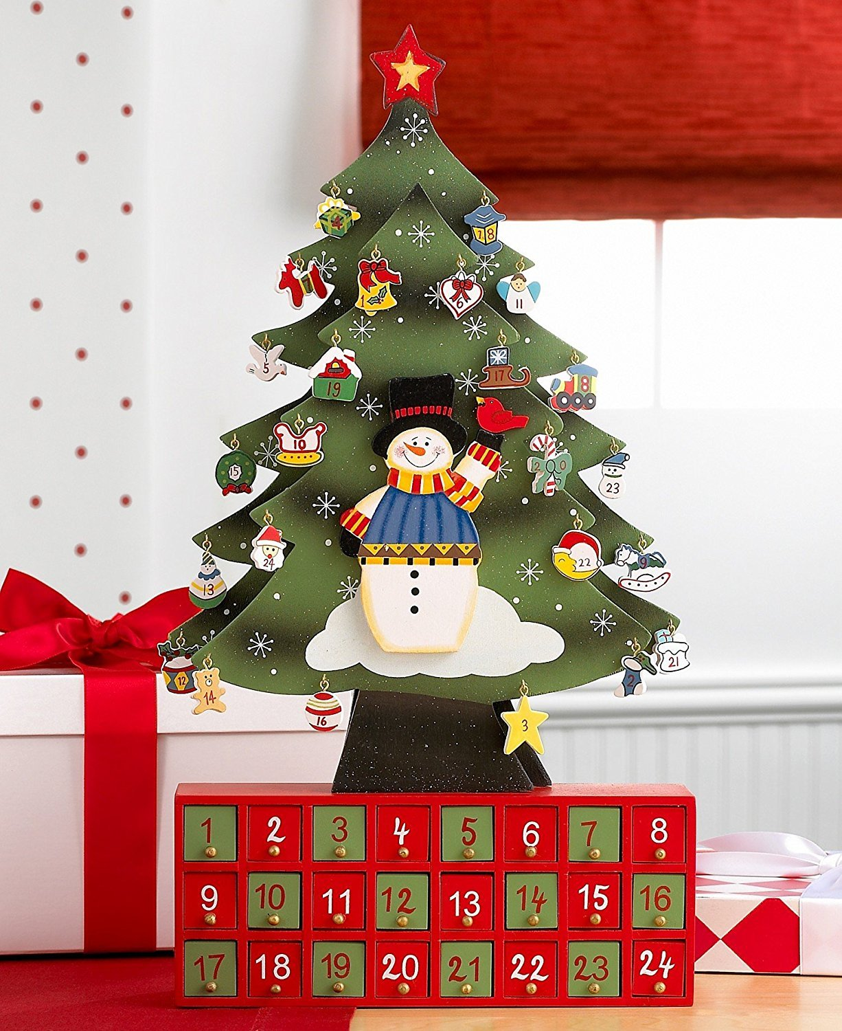 amazoncom cp toys christmas tree snowman advent calendar with ornaments wood crafted toys games - Amazon Christmas Tree