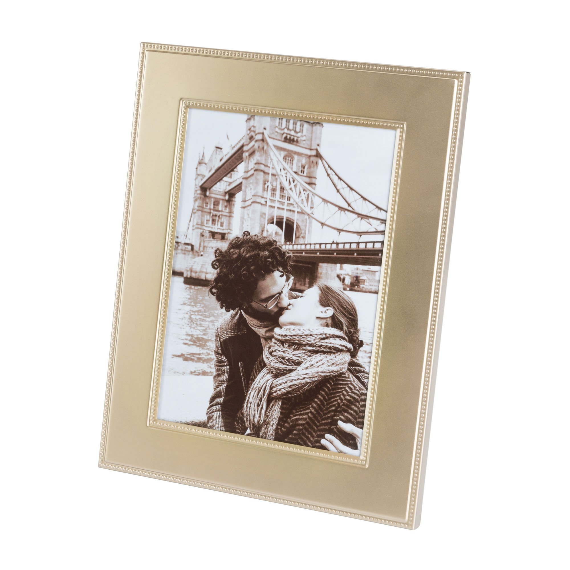 Elegance Matte Finish Beaded Design Picture Frame, 5X7, Gold
