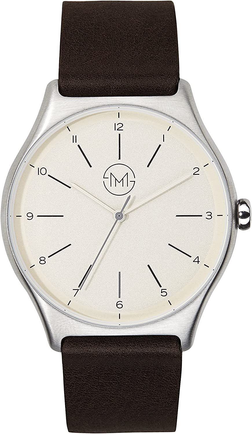 slim made one 03 – Ultra thin watch in silver brown – unisex