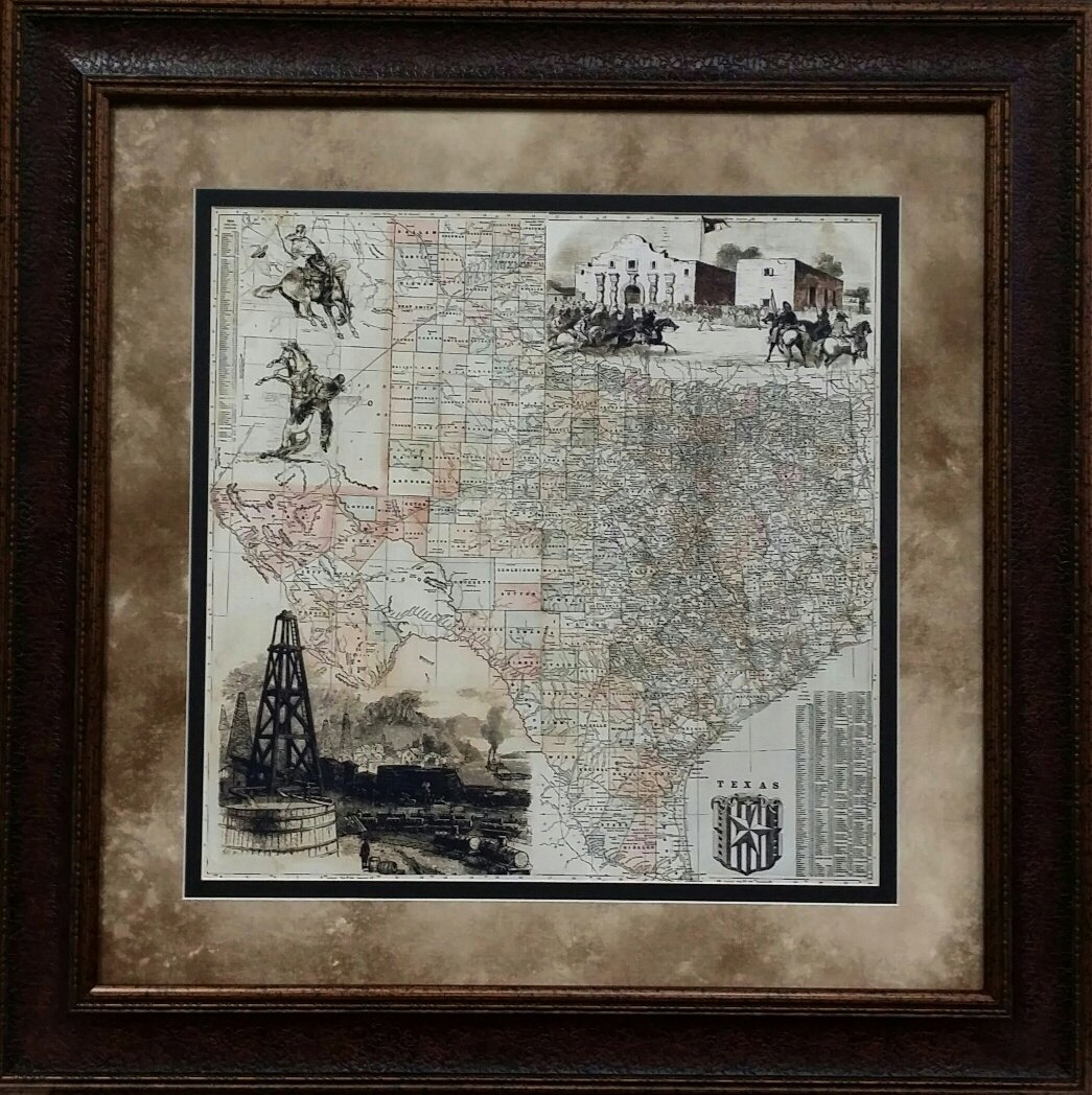 ANTIQUE MAP OF TEXAS - HISTORIC ART - DOUBLE MAT - 31X31''