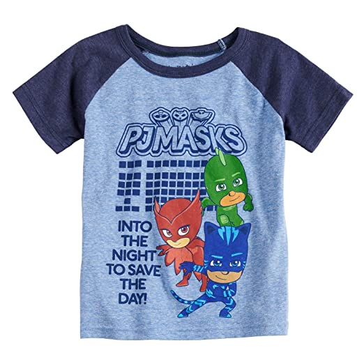 f8b3f725a Jumping Beans Toddler Boys 2T-5T PJ Masks Raglan Graphic Tee 2T Royal Navy  Heather