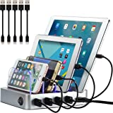 Simicore Charging Station for Multiple Devices, Certified 4 USB Fast Charging Dock, Non-Slip Surface, Smart Phones, Tablets,