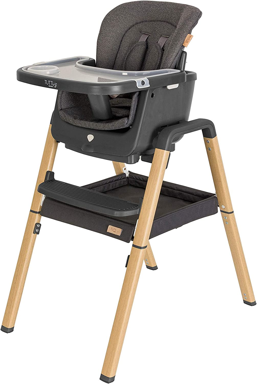 Tutti Bambini Birth to 12 Years Quick fold Nova Evolutionary Highchair Black 7 Adjustable Modes from New Born Highchair to Toddler Seat Travel Case
