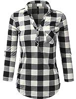 J.TOMSON Women's Ultra Soft Roll Up Sleeve Henley Plaid Shirt S-3XL (6 Colors)