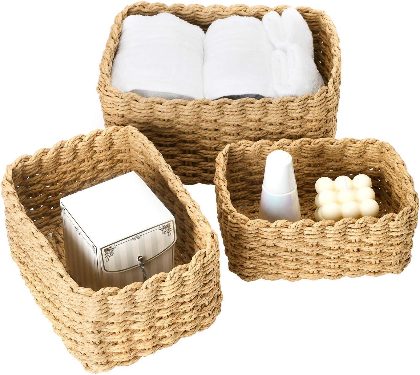 La Jolíe Muse Woven Storage Baskets, Recycled Paper Rope Bin Organizer Divider for Cupboards Drawer Closet Shelf Dresser, Set of 3 (Desert)