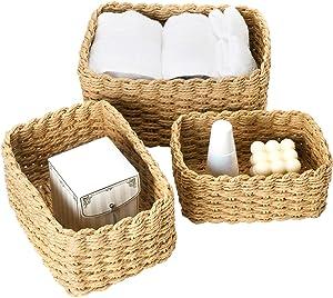 LA JOLIE MUSE Woven Storage Baskets, Recycled Paper Rope Bin Organizer Divider for Cupboards Drawer Closet Shelf Dresser, Set of 3 (Desert)